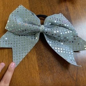 Accessories - Silver Sparkly Cheer/Dance Bow